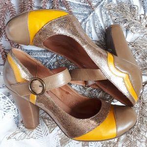 Aldo Yellow/Metallic Mary-Jane Round Toe Size 38